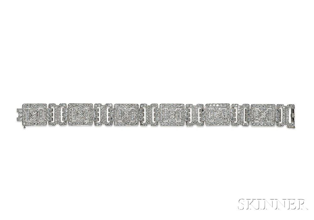 Art Deco Platinum and Diamond Bracelet, Chaumet, Paris (Lot 718, Estimate $30,000-$40,000)