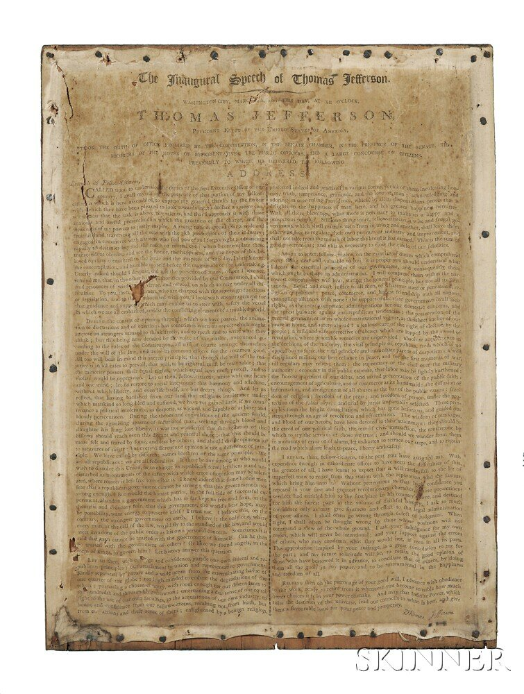 Jefferson, Thomas (1743-1826) The Inaugural Speech of Thomas Jefferson, Estimate $4,000-6,000