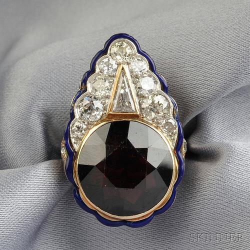 14kt Gold, Garnet, and Diamond Ring