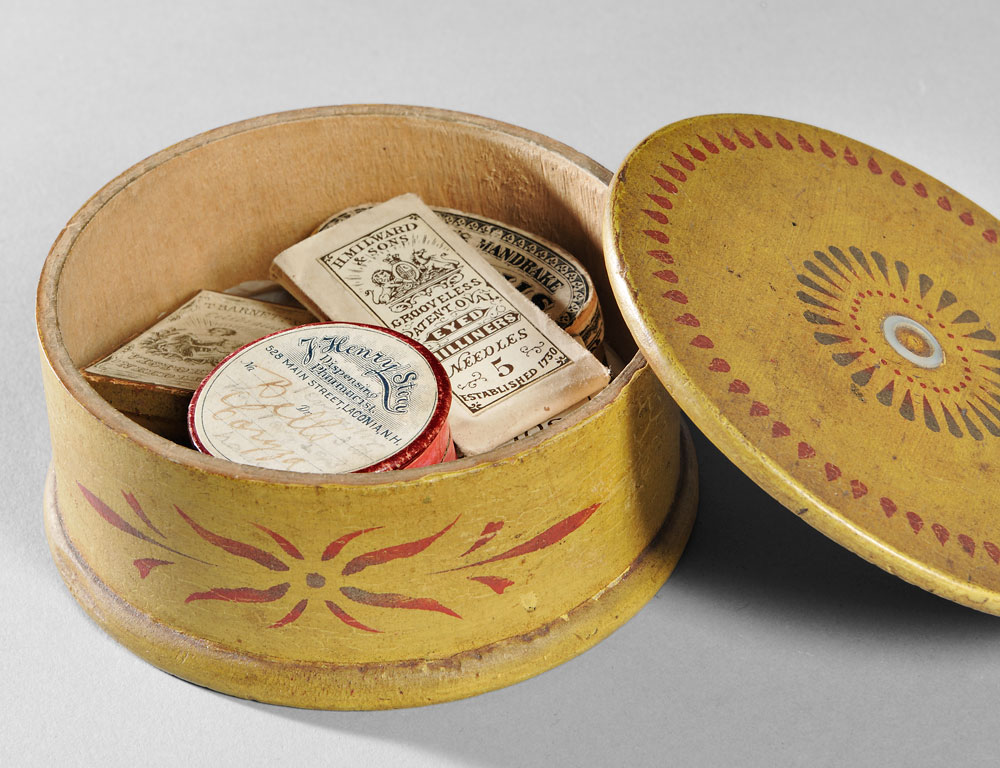 Pennsylvania Yellow Paint-decorated Covered Box, 19th century (Lot 1190, Estimate $400-$600)