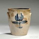 Sawyer & Smith Cobalt-decorated Stoneware Crock, Akron, Ohio, mid-19th century   (Lot 1165, Estimate $200-$250)