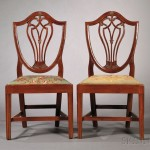 Pair of Federal Mahogany Shield-back Side Chairs, Philadelphia, Pennsylvania, c.   1795 (Lot 1564, Estimate $300-$500)