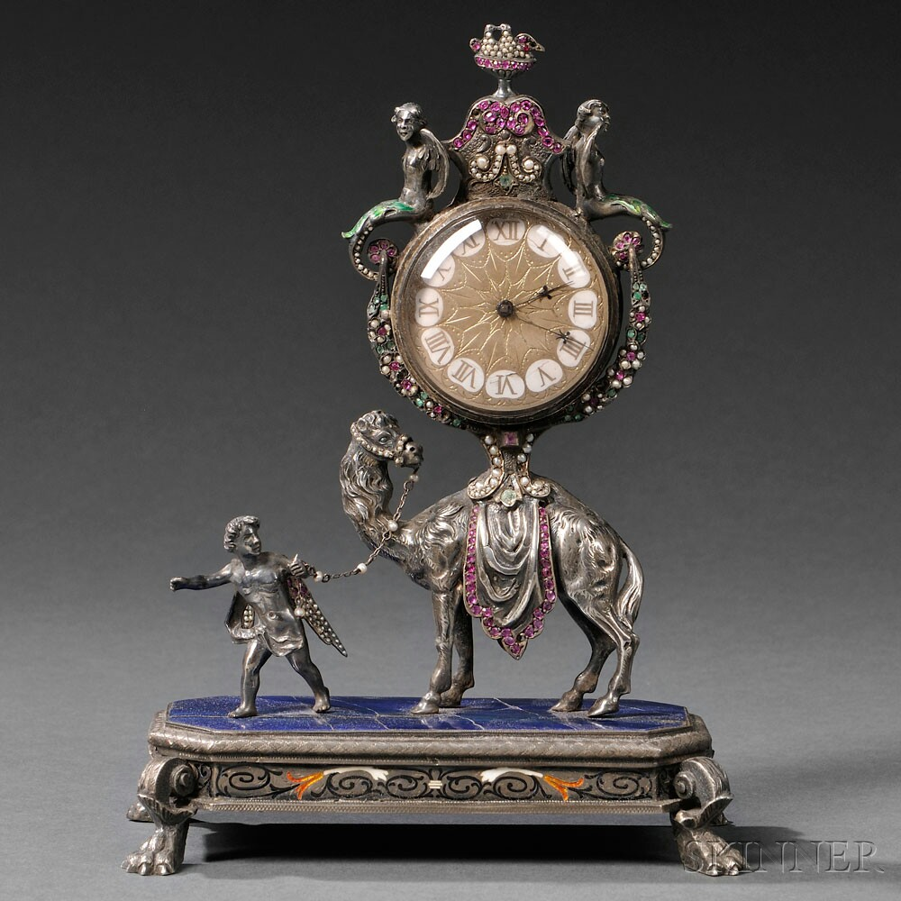 Viennese Silver, Enamel, and Jeweled Camel-form Clock, Austria, late 19th century (Lot 174, Estimate $3,000-$5,000)