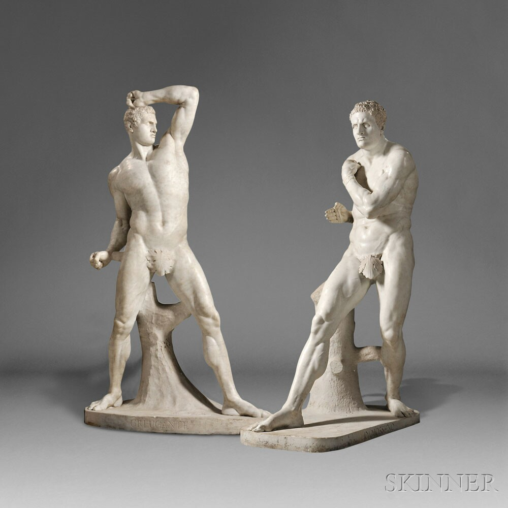 After Antonio Canova (Italian, 1757-1822), Pair of Carrara Marble Figures of the Pugilists Creugas and Damoxenos (Lot 246, Estimate $70,000-$90,000)