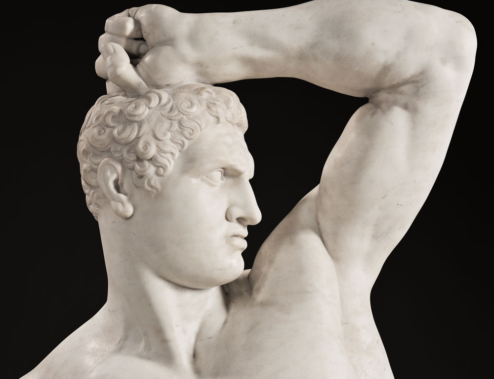 [Detail] After Antonio Canova (Italian, 1757-1822), Pair of Carrara Marble Figures of the Pugilists Creugas and Damoxenos (Lot 246, Estimate $70,000-$90,000)