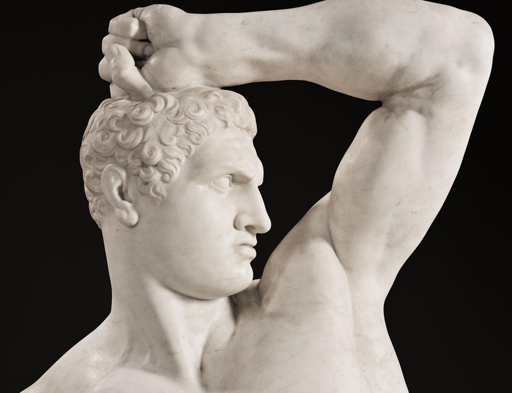 [Detail] After Antonio Canova (Italian, 1757-1822), Pair of Carrara Marble Figures of the Pugilists Creugas and Damoxenos (Lot 246, Estimate $70,000-$90,000)