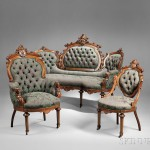 Seven-piece Renaissance Revival Carved and Parcel-gilt Walnut Parlor Suite, probably New York or New Jersey, late 19th century (Lot 335, Estimate $8,000-$12,000)