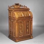 Joseph Moore Renaissance Revival Marquetry-inlaid Walnut Cabinet Secretary, Indianapolis, Indiana, last quarter 19th century, Moore Combination Desk Company (Lot 366, Estimate $20,000-$40,000)