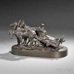 After Evgeny Androvich Lanceray (Russian, 1848-1886)  Troika in Wait (Lot 667, Estimate $4,000-$6,000)