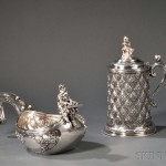 Russian .875 Silver, Hardstone-mounted Kovsh by Orest Kurlyukov (Lot 63, Estimate $20,000-$30,000) and Covered Tankard by the Grachev Brothers (Lot 64, Estimate $2,000-$4,000)