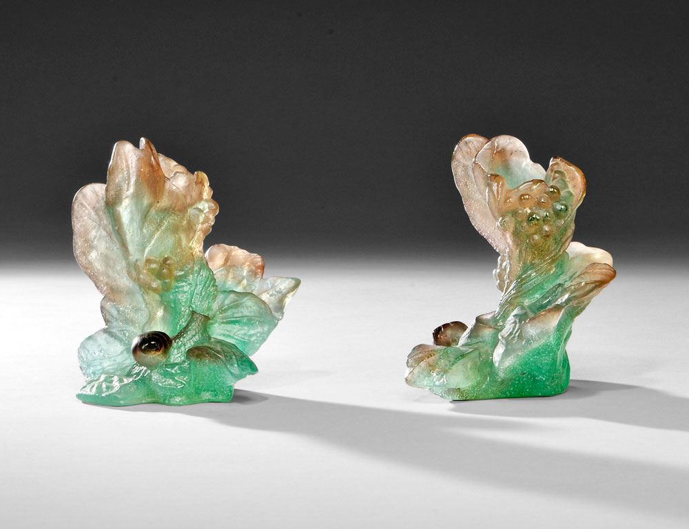 Pair of Daum Pate de Verre Candleholders (Lot 366, Estimate $400-$600)