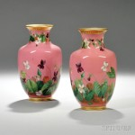 Pair of Hand-painted Floral-decorated Pink Ceramic Mintons Vases (Lot 73, Estimate $200-$300)