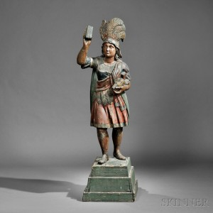 Sold for $92,250. Polychrome Carved Indian Princess Tobacconist Figure, Samuel   Robb, New York, late 19th century