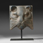 Cast Iron Blue-painted Cat Head, America, late 19th century (Lot   634, Estimate $8,000-$12,000)