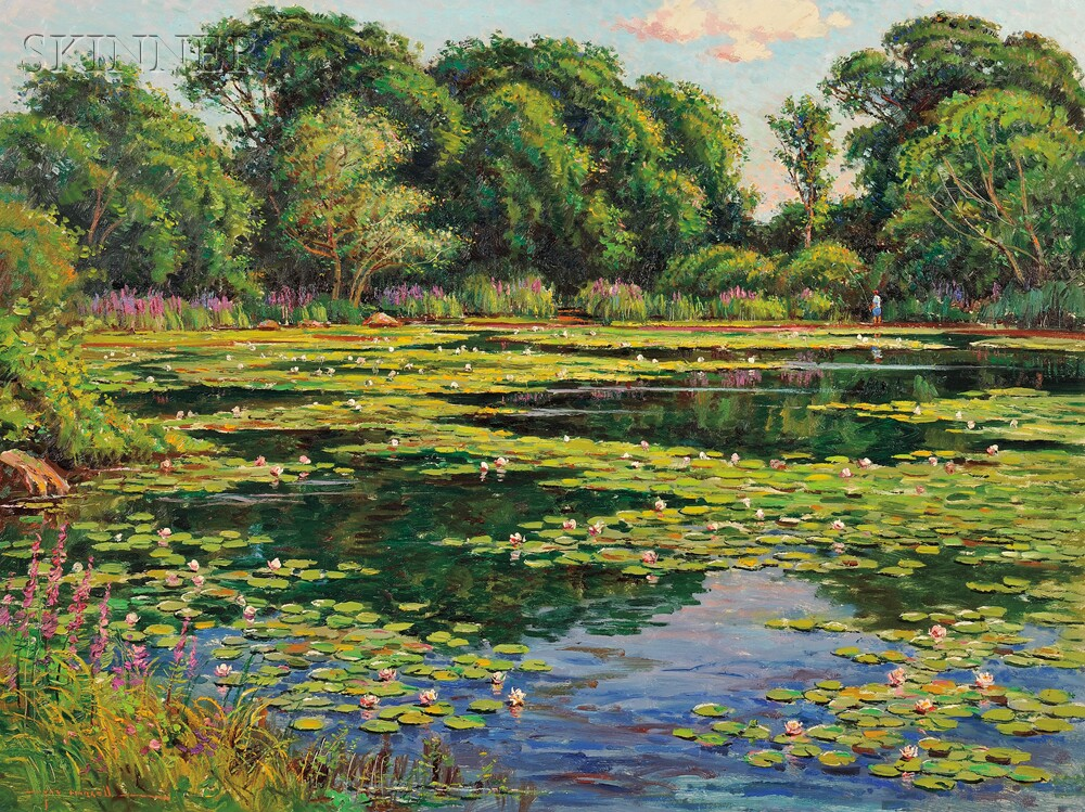 Wayne Morrell, Lily Pond, 1984 (Sold for $2,160 at Skinner, American & European Works of Art)