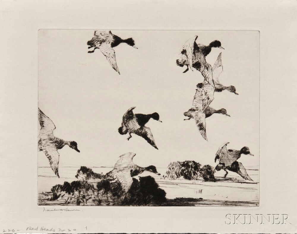 Frank Weston Benson (American, 1862-1951) Redheads No. 2,   1923 (Lot 1011, Estimate $700-$900)