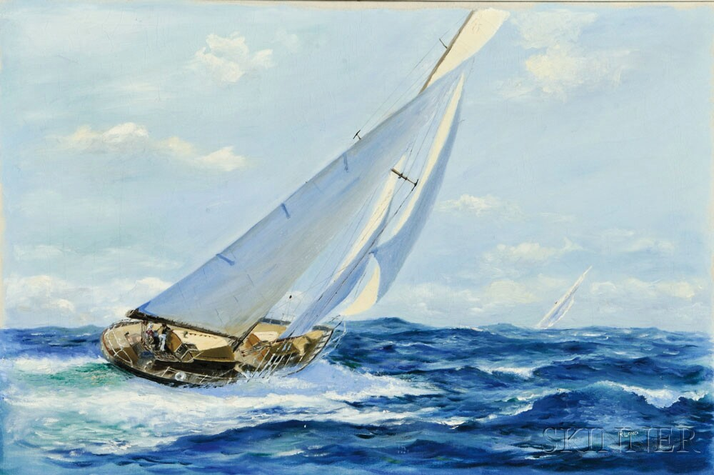 Richard K. Loud (American, b. 1942)  Racing Yacht, c. 1960s.  (Lot 1014, Estimate $3,000-$5,000)