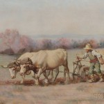 Myron Ward (American, 19th/20th Century) Plowing with Oxen.   (Lot 1222, Estimate $800-$1,200)