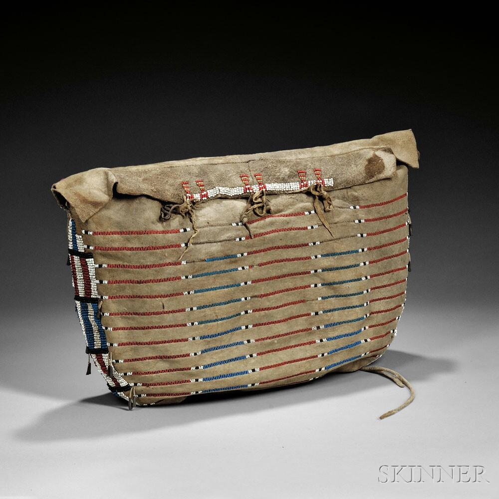 Plains Beaded Buffalo Hide Possible Bag, c. mid-19th century (Lot 130, Estimate $35,000-$45,000)