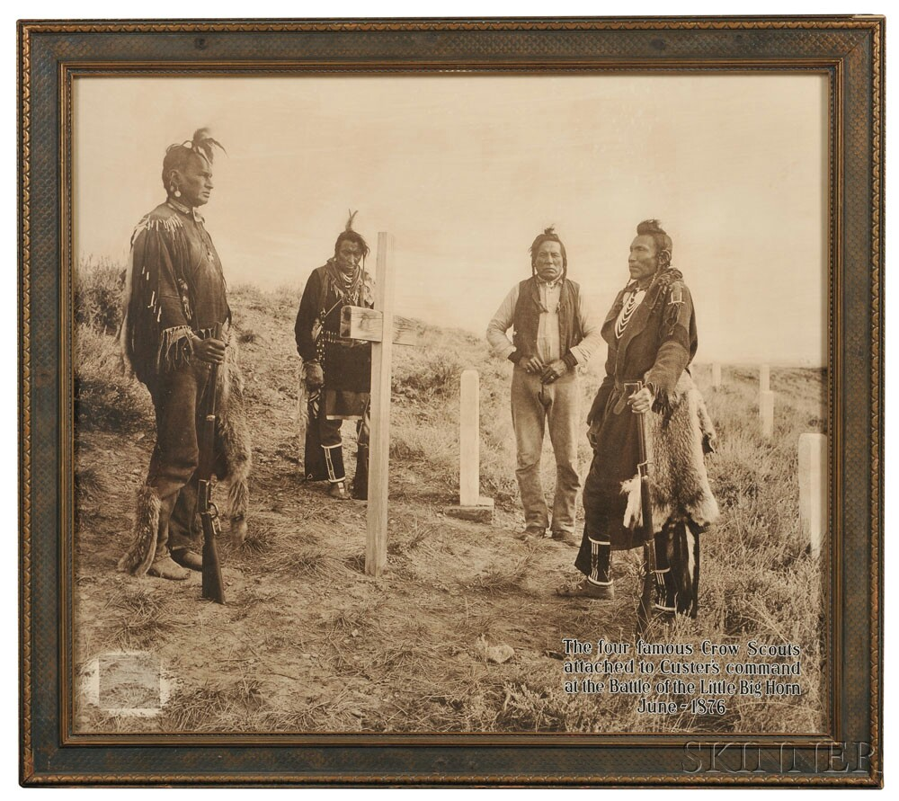 Large Framed Photograph by Joseph K. Dixon, 'Here Custer Fell (Four Crow Scouts at Custer Battlefield),' print c. 1915, date 1909 (Lot 247, Estimate $6,000-$8,000)