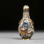 Cloisonne Snuff Bottle with Shishi Lions, China, Qing dynasty (Lot 1, Estimate $3,000-$5,000)