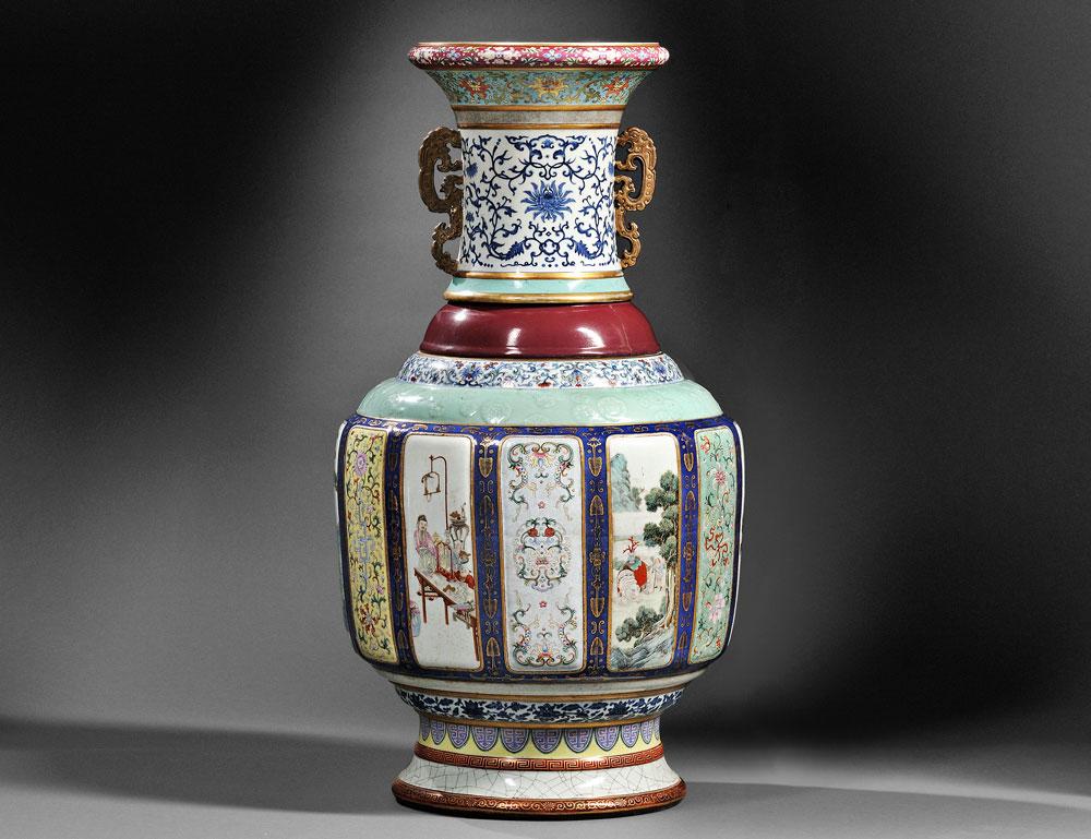 Monumental Fencai Flower and Landscape Vase, China, Imperial Qianlong period (Lot 96)