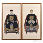 Pair of Ancestral Portraits of a Couple, China, 20th century (Lot 163, Estimate $2,000-$3,000)