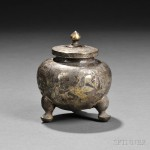 Parcel-gilt Silver Lidded Tripod Jar, China, Tang dynasty (Lot 56, Estimate $1,200-$1,500)