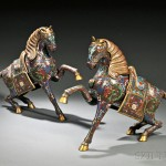 Pair of Cloisonne Horses, China, Qing dynasty (Lot 79, Estimate $700-$900)