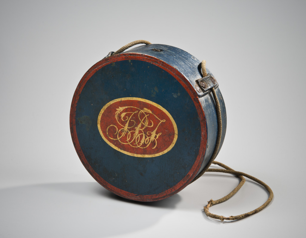 Round Canteen, by Elijah Burr, Hingham, MA. Made for the Boston Independent Fusiliers, ca. 1822. Courtesy of Old Sturbridge Village