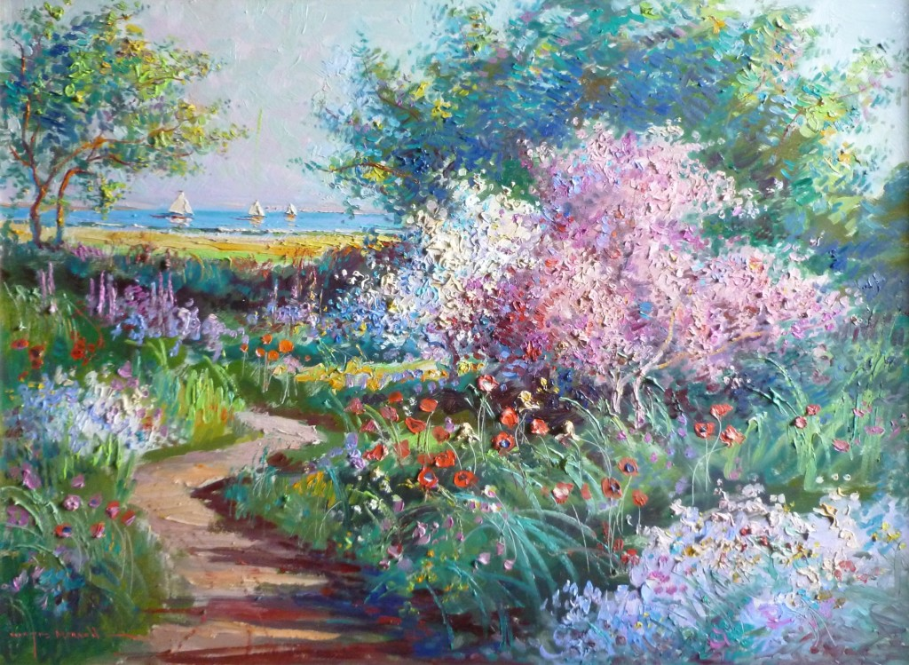 Sunlit Apple Blossoms, 30 x 40 in., by Wayne Morrell, Courtesy of Rockport Art Association