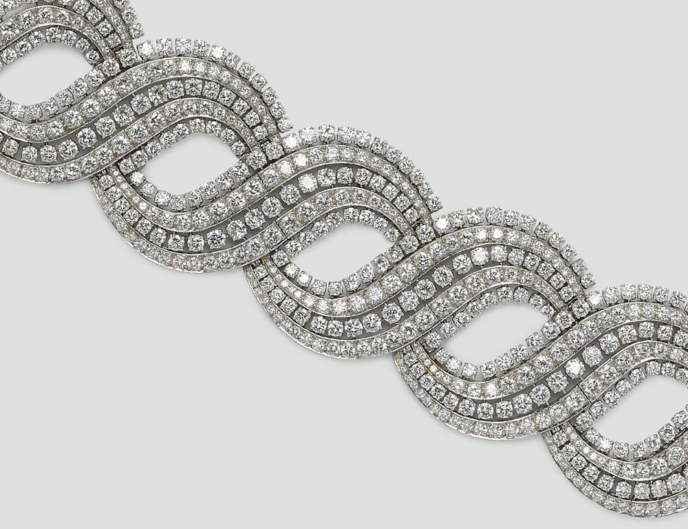 Platinum and Diamond Bracelet (Lot 457, Estimate $30,000-$40,000)