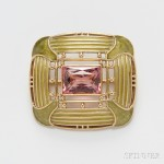 Arts & Crafts 18kt Gold, Plique-a-Jour Enamel, and Pink Tourmaline Brooch, Tiffany & Co., c. 1916 (Lot 469, Estimate $4,000-$6,000)
