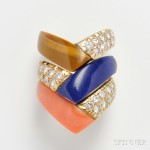 Three Hardstone and Diamond Bands, Van Cleef & Arpels, France, c. 1970s (Lot 612, Estimate $4,000-$6,000)