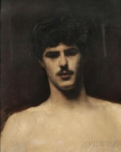John Singer Sargent (American, 1856-1925), Study of a Man's Head, c. 1878 (Lot 416, Estimate $200,000-$300,000)