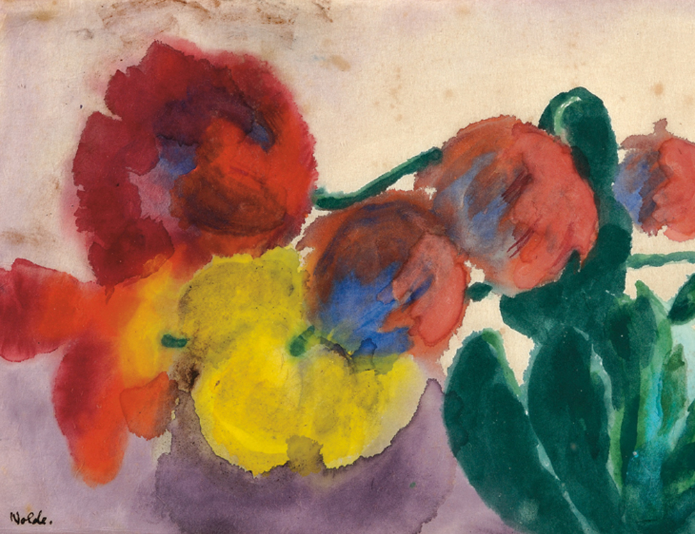 [Detail] Emil Nolde (German, 1867-1956), Tulpen und Kakteen (Lot 589, Estimate $100,000-$150,000)