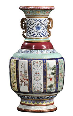 Monumental Fencai Flower and Landscape Vase, China, Imperial Qianlong period (Lot 96)