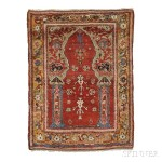 Central Anatolian Prayer Rug, mid-18th century (Lot 81, Estimate $5,000-$6,000)