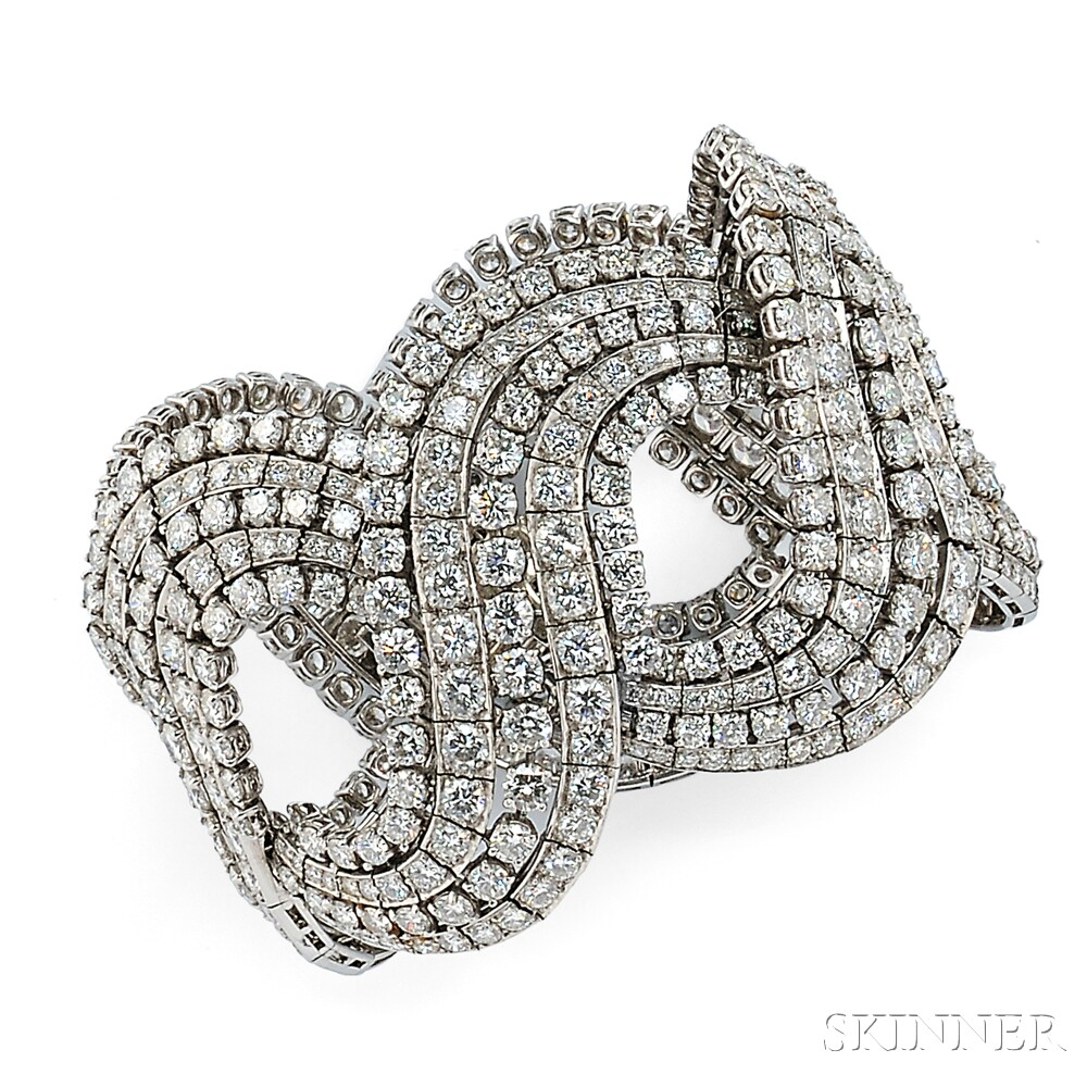 Lot 457 – Platinum and Diamond Bracelet – Estimate: $30,000 – $40,000