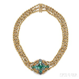 Lot 467 – Arts & Crafts 18kt Gold, Tourmaline, and Sapphire Necklace, Tiffany & Co. – Estimate: $40,000 – $50,000