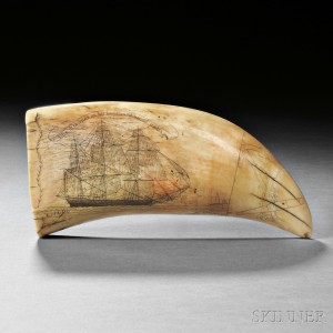 Scrimshaw Whale's Tooth Showing the Frances of New Bedford, Frederick Myrick, Nantucket, c. 1828-29 (Lot 236, Estimate $150,000-$250,000)