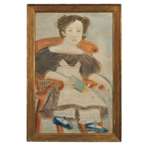 American School, Second Quarter 19th Century Portrait of a Curly-haired Blue-eyed Young Girl Wearing Blue Shoes (Lot 349, Estimate $4,000-$6,000)