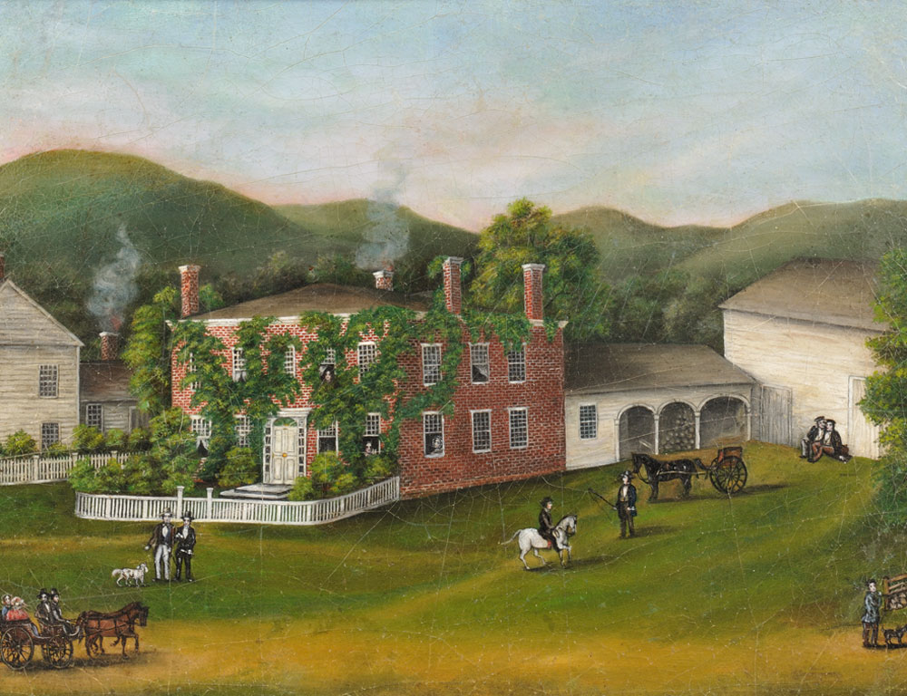 Portrait of Federal Brick House, American School, 19th Century (Lot 342, Estimate $3,000-$5,000)