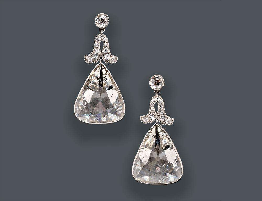 Fine Pair of Edwardian Platinum and Diamond Earpendants, Cartier, New York (Lot 744, Estimate $100,000-$150,000)