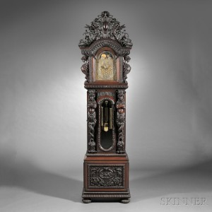 Monumental Tiffany & Company Quarter-chiming Mahogany Floor Clock (Lot 447, Estimate $90,000-$120,000)