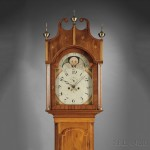 Elaborately Inlaid Mahogany Tall Clock, case attributed to Robert Wood and Jacob Taylor, Florida, New York, c.1810 (Lot 451, Estimate $4,000-$6,000)