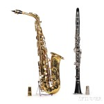 French Alto Saxophone, Henri Selmer, Paris, 1955, Model Mark VI, and a Selmer Bb Clarinet (Lot 120, Estimate $3,000-$4,000)