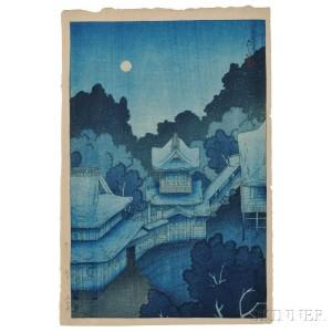 Kawase Hasui (1883-1957), Mountain Temple in Sendai, Japan, Summer 1919 (Lot 17, Estimate $8,000-$10,000)