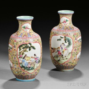 Pair of Famille Jaune Eggshell Porcelain Vases, China, late 19th century (Lot 436, Estimate $5,000-$7,000)