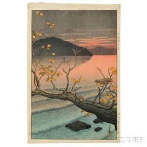 Kawase Hasui (1883-1957), Nenokuchi Lake, Towada, Japan, 1933 (Lot 63, Estimate $3,000-$5,000)